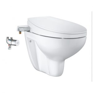 Bau Ceramic Manual Bidet Seat 3-In-1 Set, Wall Hung
